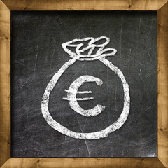 Bag with money euro drawn on a chalkboard.