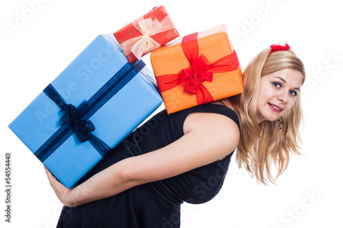 Happy woman carrying presents