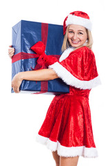 Happy Christmas woman with big present
