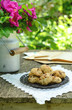 Walnut cookies on garden table
