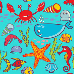 marine seamless pattern, endless texture of sea world