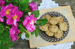 Dog rose bunch and homemade cookie