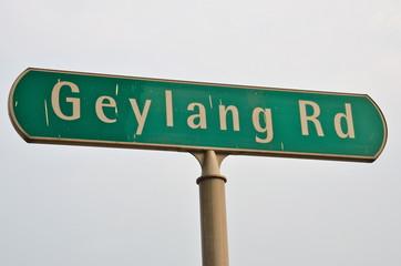 Street sign Geylang road, Singapore