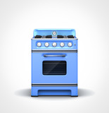 Blue retro vintage stove in front view