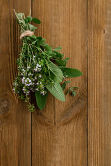 Bouquet garni - herbs  tied by string