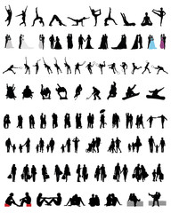 Set of different silhouettes of people 4, vector