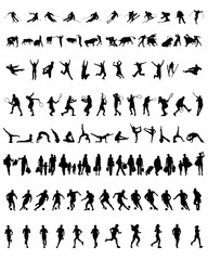 Set of different silhouettes of people 2, vector