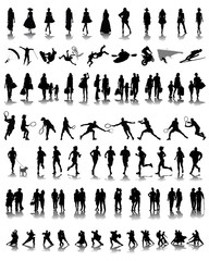 Set of different silhouettes of people 1, vector
