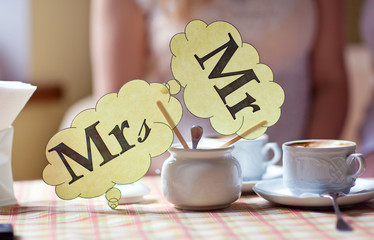 Mr & Mrs plate on the table