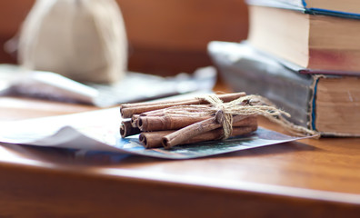 Cinnamon sticks on the table