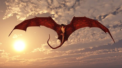 Red Dragon Attacking from a Sunset Sky