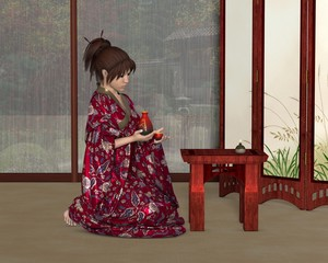 Japanese Woman inside her House