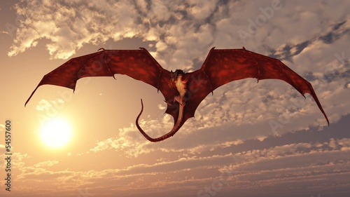 canvas print picture Red Dragon Attacking from a Sunset Sky