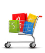 Shopping bags with sale in shopping cart. Concept of discount. V
