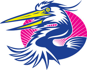 Great Blue Heron Head Retro