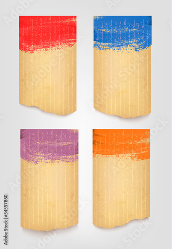 Collection of retro cardboard banners. Vector