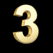 Number three - golden number with clipping path