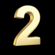 Number two - golden number isolated on black with clipping path