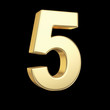Number five - golden number isolated on black with clipping path