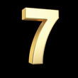Number seven - golden number with clipping path