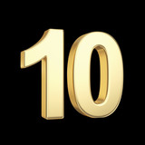 Number ten - golden number isolated on black with clipping path