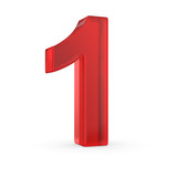 Number one- red isolated with clipping path