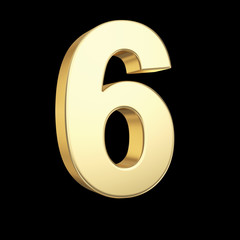 Number six - golden number isolated on black with clipping path