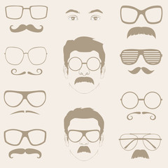 front profile faces with Mustaches, sunglasses, eyeglass