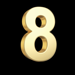 Number eight  with clipping path