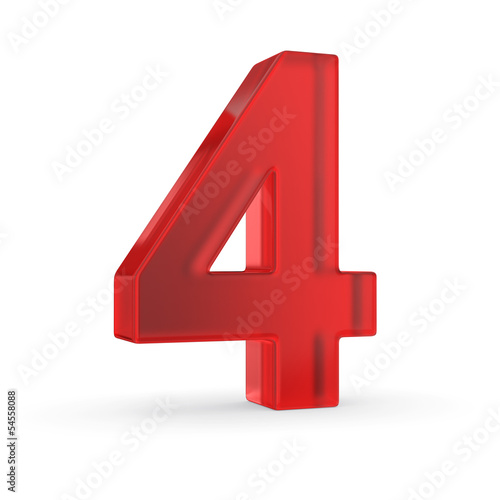 Number four- red isolated with clipping path