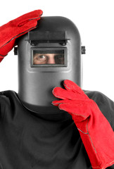 Portrait of  welder in mask, isolated on white