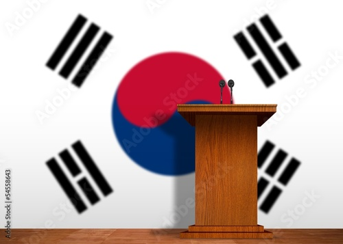 Podium and Korean flag