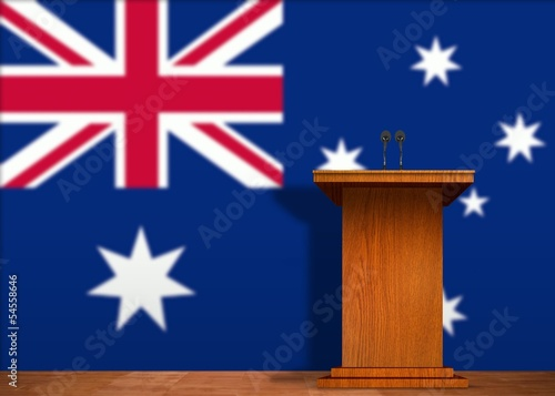 Podium and Australian  flag