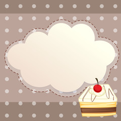 A stationery with a dessert