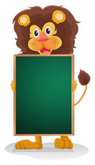 A smiling lion holding an empty board