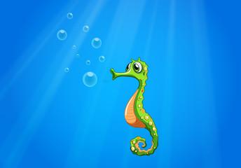 A seahorse under the sea
