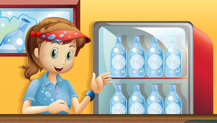 A girl near a fridge with bottles of soda