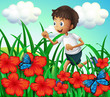 A boy running at the garden with flowers and butterflies