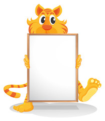 A tiger holding an empty whiteboard