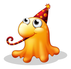 A monster wearing a party hat