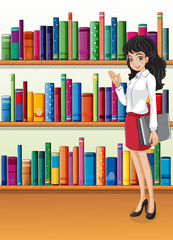 A librarian near the bookshelves