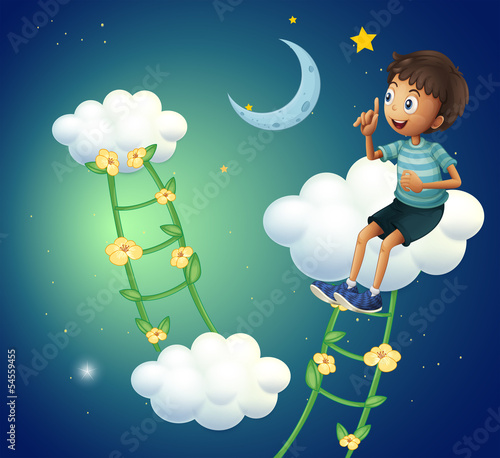 A boy sitting at the cloud