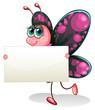 A butterfly holding an empty cardboard