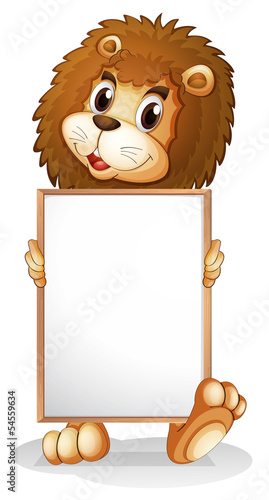 A lion holding an empty bulletin board