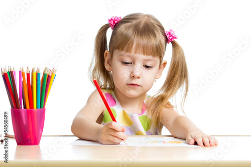 cute child drawing with colorful pencils