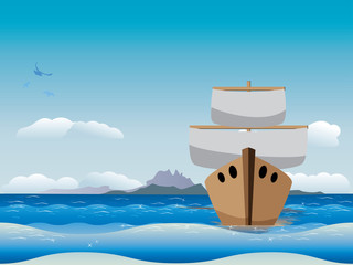 Cartoon boat in the sea