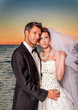 bride couple sunset
