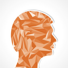 Human head-Abstract illustration of triangles stock vector