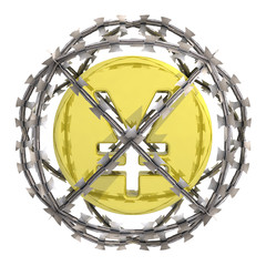 isolated yen or yuan coin in barbed wire sphere