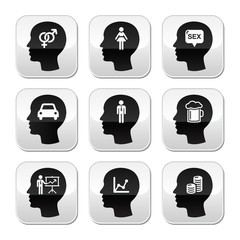 Head, man thoughts vector buttons set